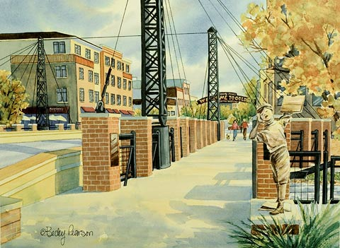 Golden Bridge Watercolor Painting
